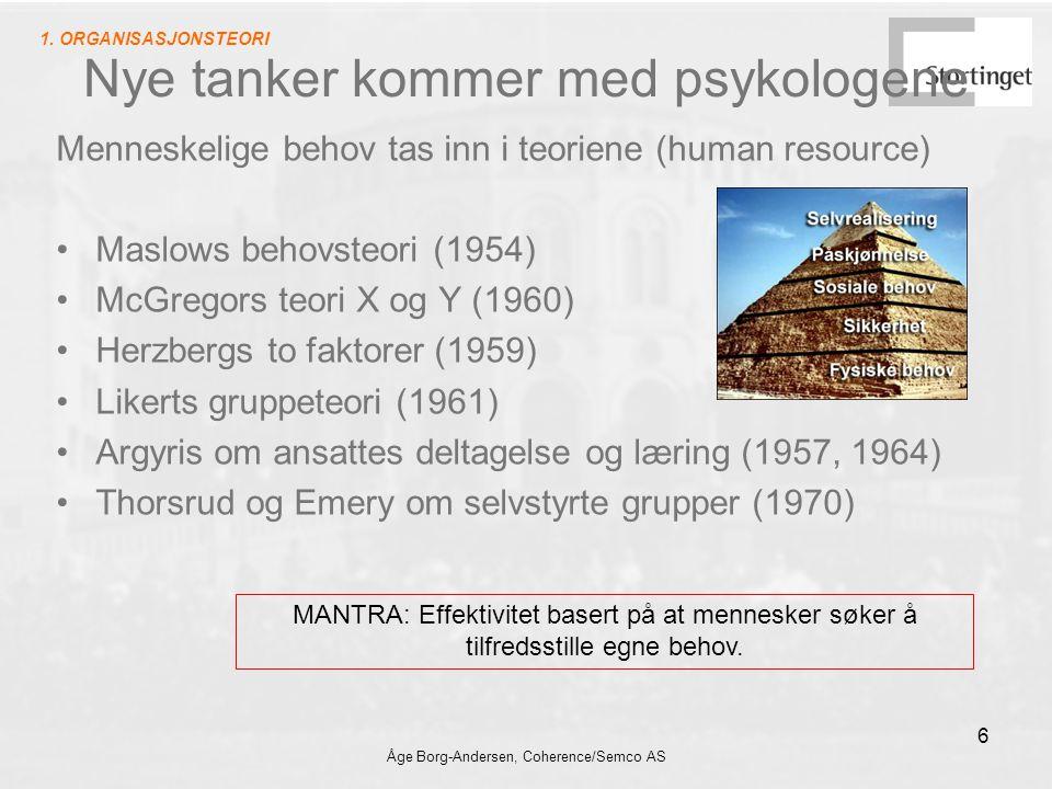 Åge Borg-Andersen, Coherence/Semco AS 6 Nye tanker kommer med psykologene Menneskelige behov tas inn i teoriene (human resource) Maslows behovsteori (1954) McGregors teori X og Y (1960) Herzbergs to faktorer (1959) Likerts gruppeteori (1961) Argyris om ansattes deltagelse og læring (1957, 1964) Thorsrud og Emery om selvstyrte grupper (1970) MANTRA: Effektivitet basert på at mennesker søker å tilfredsstille egne behov.