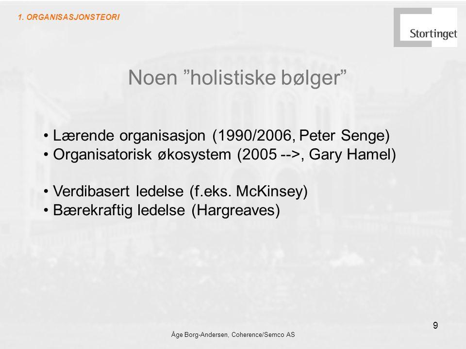 Åge Borg-Andersen, Coherence/Semco AS 9 Noen holistiske bølger Lærende organisasjon (1990/2006, Peter Senge) Organisatorisk økosystem (2005 -->, Gary Hamel) Verdibasert ledelse (f.eks.