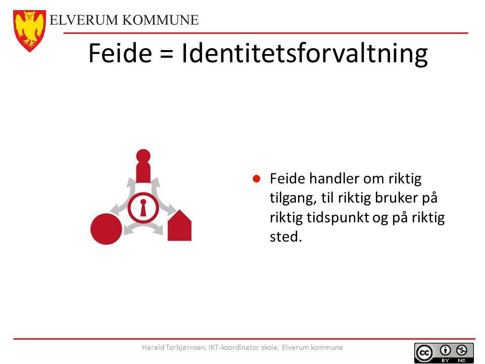 Feide = Identitetsforvaltning Feide handler om riktig tilgang, til riktig bruker på riktig tidspunkt og på riktig sted.