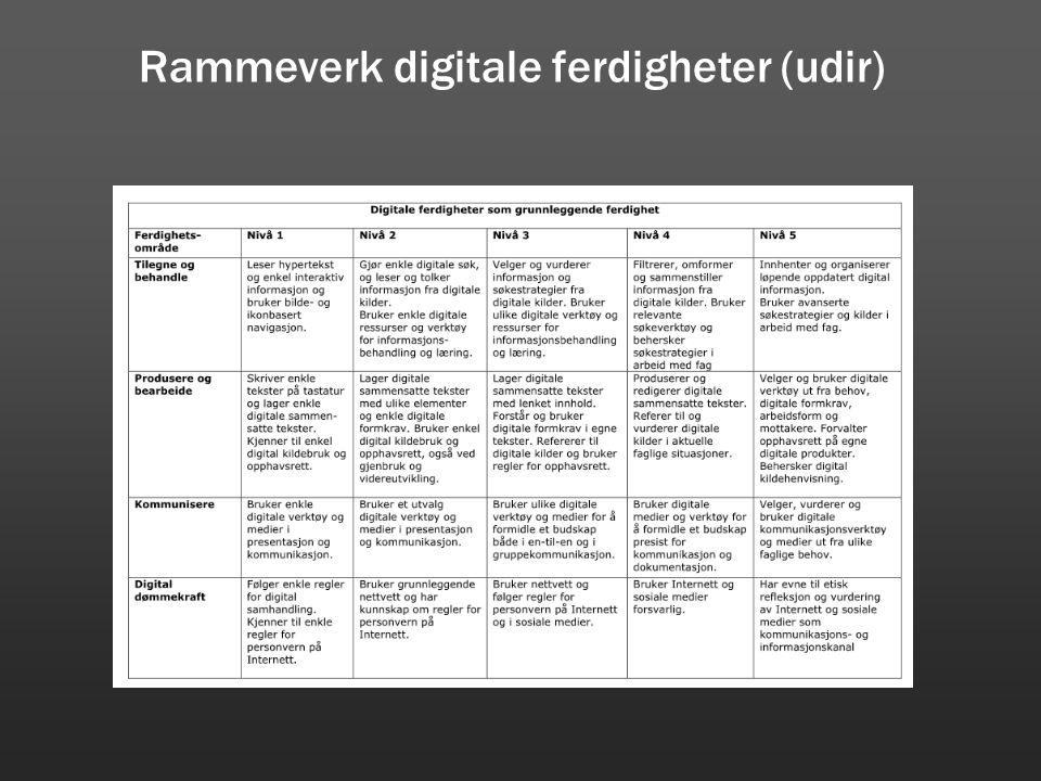 Rammeverk digitale ferdigheter (udir)