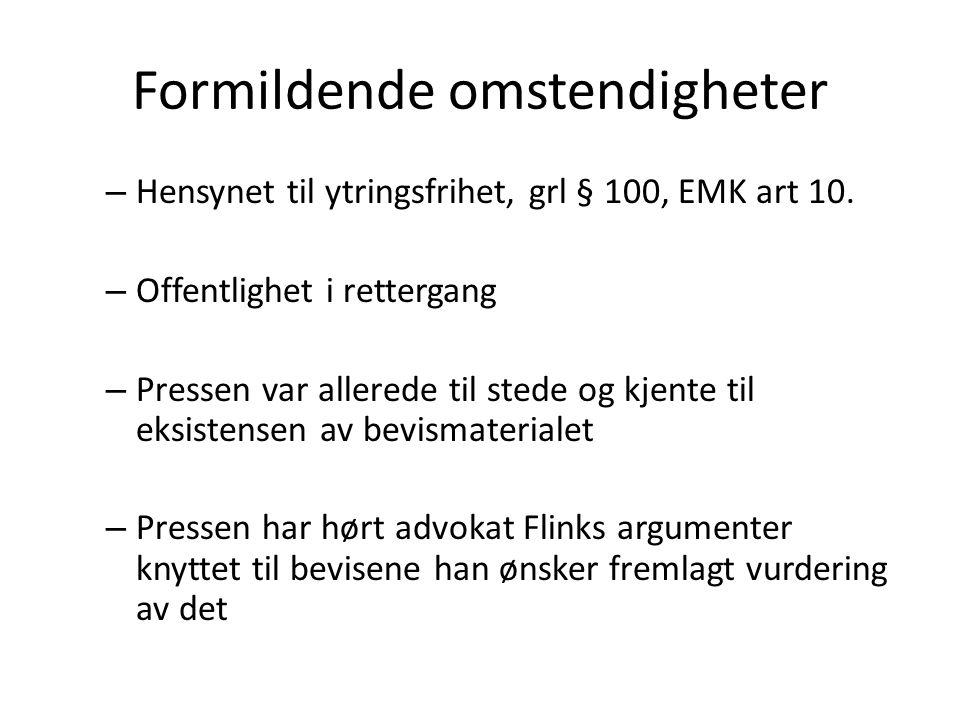Formildende omstendigheter – Hensynet til ytringsfrihet, grl § 100, EMK art 10.
