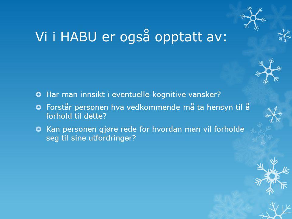 Vi i HABU er også opptatt av:  Har man innsikt i eventuelle kognitive vansker?  Forstår personen hva vedkommende må ta hensyn til å forhold til dett