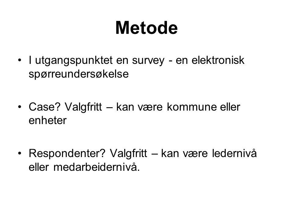 Metode I utgangspunktet en survey - en elektronisk spørreundersøkelse Case? Valgfritt – kan være kommune eller enheter Respondenter? Valgfritt – kan v
