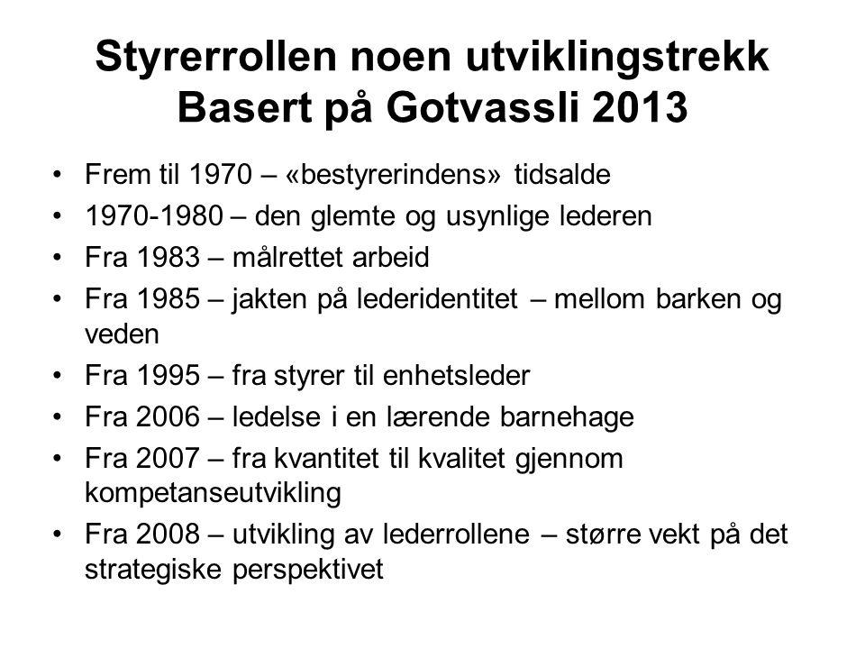 Styrerrollen noen utviklingstrekk Basert på Gotvassli 2013 Frem til 1970 – «bestyrerindens» tidsalde 1970-1980 – den glemte og usynlige lederen Fra 19