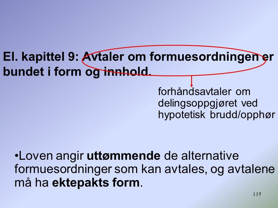 135 El.kapittel 9: Avtaler om formuesordningen er bundet i form og innhold.