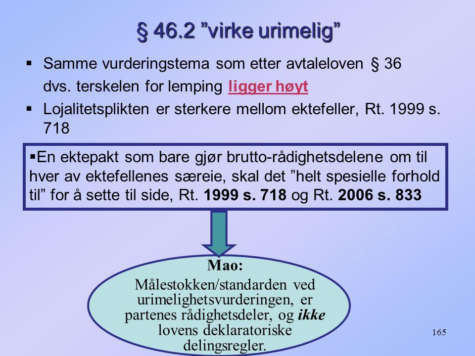 165 § 46.2 virke urimelig  Samme vurderingstema som etter avtaleloven § 36 dvs.