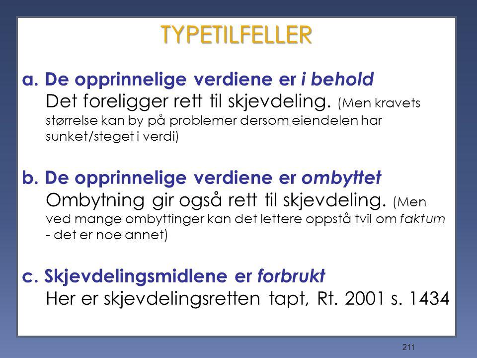 211 TYPETILFELLER a.De opprinnelige verdiene er i behold Det foreligger rett til skjevdeling.