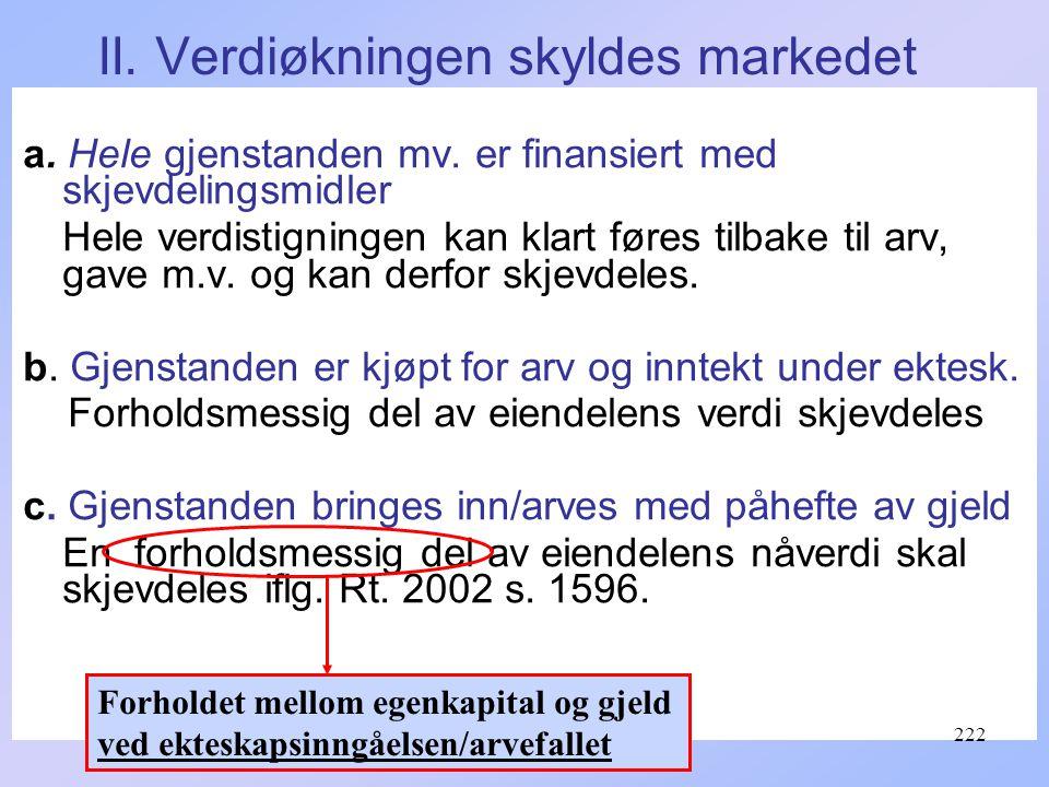 II.Verdiøkningen skyldes markedet a. Hele gjenstanden mv.