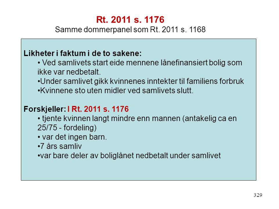 329 Likheter i faktum i de to sakene: Ved samlivets start eide mennene lånefinansiert bolig som ikke var nedbetalt.