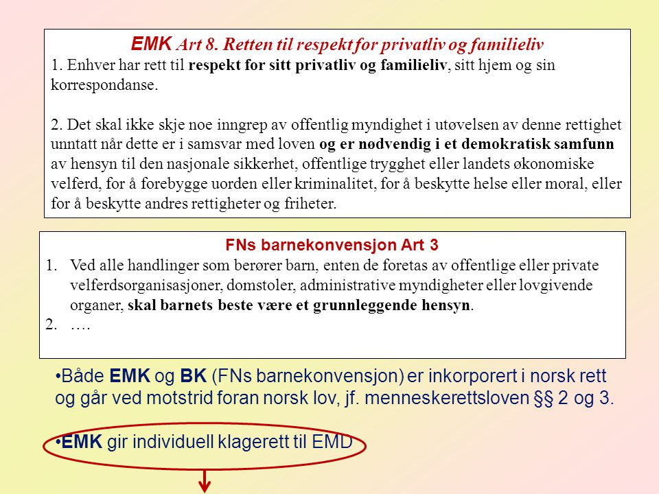 EMK Art 8.Retten til respekt for privatliv og familieliv 1.