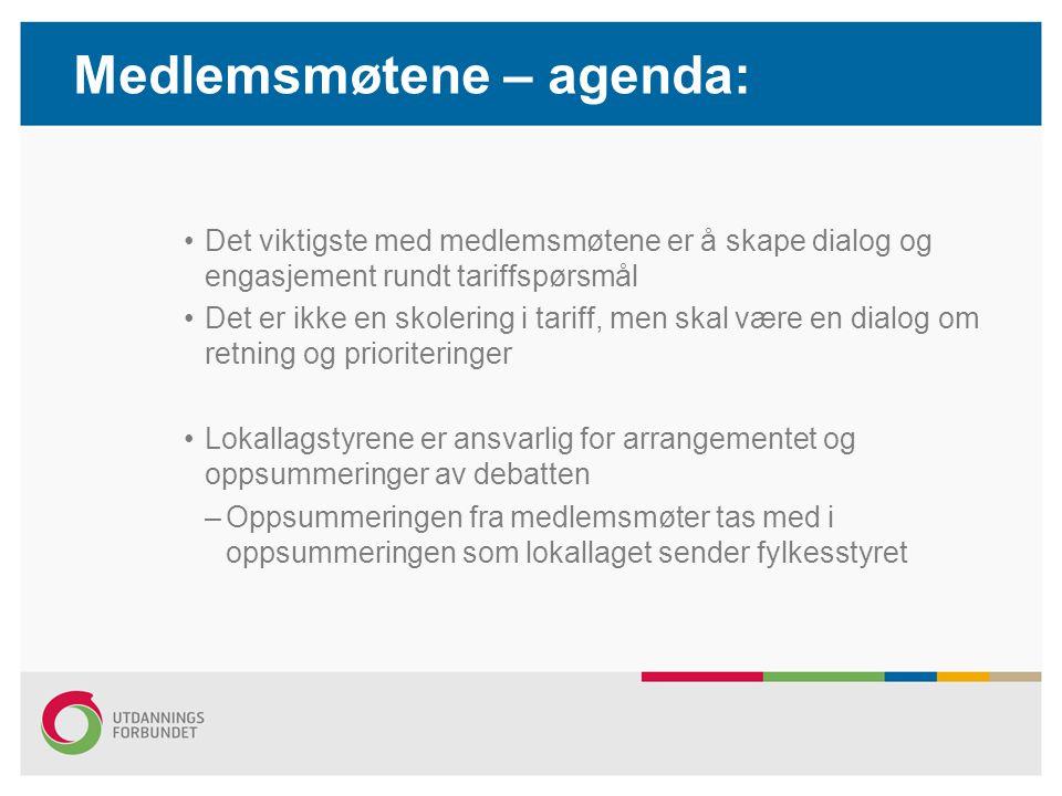Medlemsmøtene – agenda: Det viktigste med medlemsmøtene er å skape dialog og engasjement rundt tariffspørsmål Det er ikke en skolering i tariff, men s