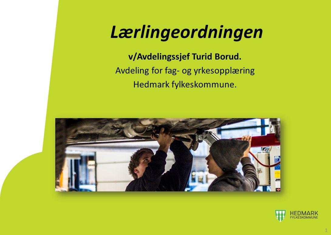 Lærlingeordningen v/Avdelingssjef Turid Borud. Avdeling for fag- og yrkesopplæring Hedmark fylkeskommune. 1