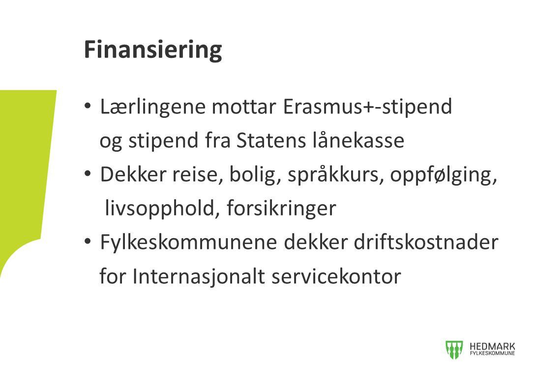 Lærlingene mottar Erasmus+-stipend og stipend fra Statens lånekasse Dekker reise, bolig, språkkurs, oppfølging, livsopphold, forsikringer Fylkeskommun