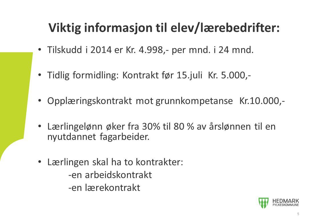 Tilskudd i 2014 er Kr. 4.998,- per mnd. i 24 mnd. Tidlig formidling: Kontrakt før 15.juli Kr. 5.000,- Opplæringskontrakt mot grunnkompetanse Kr.10.000
