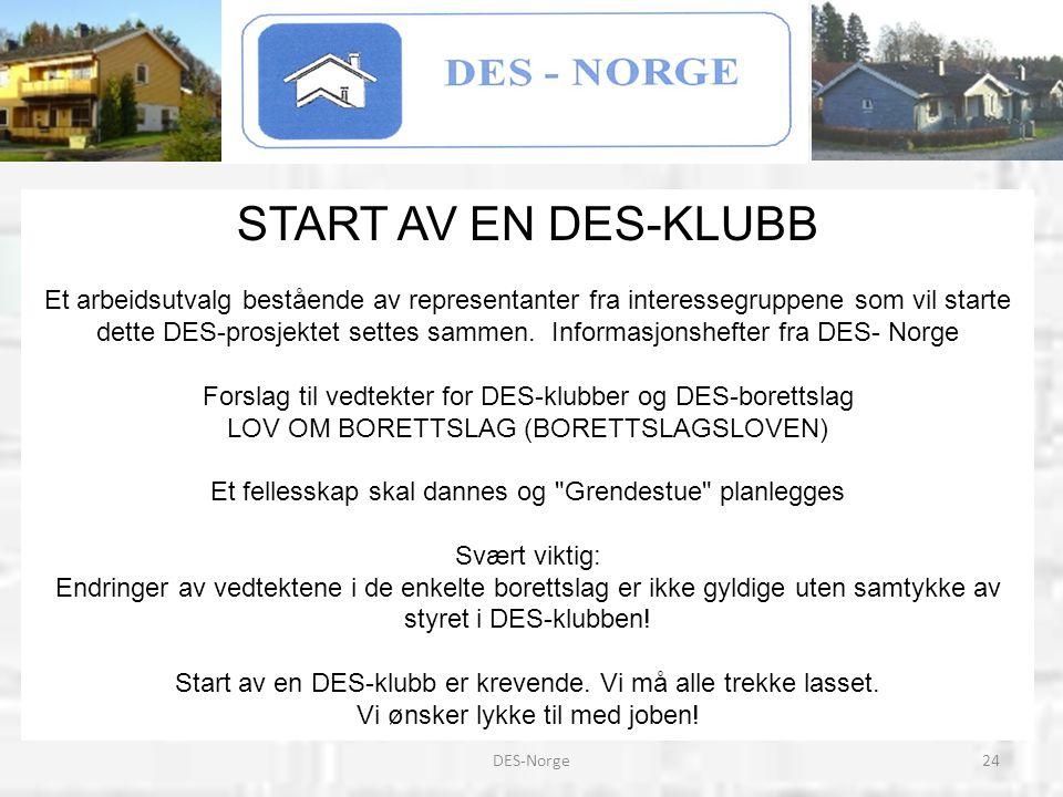 24DES-Norge START AV EN DES-KLUBB Et arbeidsutvalg bestående av representanter fra interessegruppene som vil starte dette DES-prosjektet settes sammen