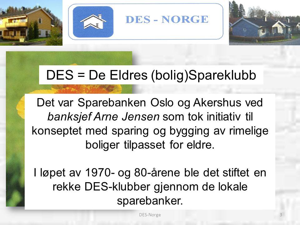 4DES-Norge DES-Norge er en paraplyorganisasjon som har som mål å skape et forum for alle boligspare-klubber for eldre i Norge.