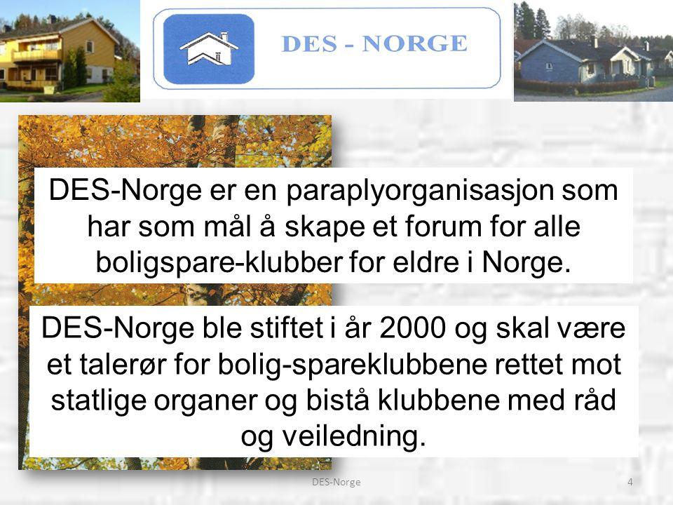 4DES-Norge DES-Norge er en paraplyorganisasjon som har som mål å skape et forum for alle boligspare-klubber for eldre i Norge. DES-Norge ble stiftet i