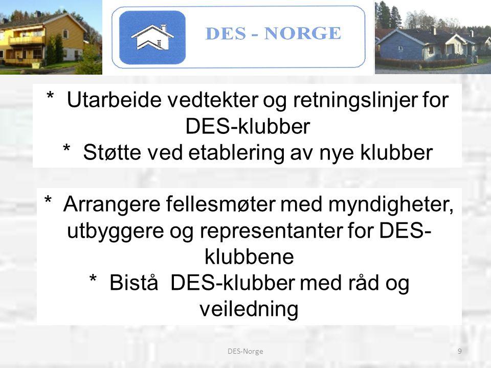 9DES-Norge * Arrangere fellesmøter med myndigheter, utbyggere og representanter for DES- klubbene * Bistå DES-klubber med råd og veiledning * Utarbeid