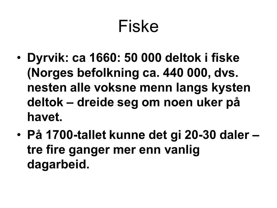Fiske Dyrvik: ca 1660: 50 000 deltok i fiske (Norges befolkning ca. 440 000, dvs. nesten alle voksne menn langs kysten deltok – dreide seg om noen uke