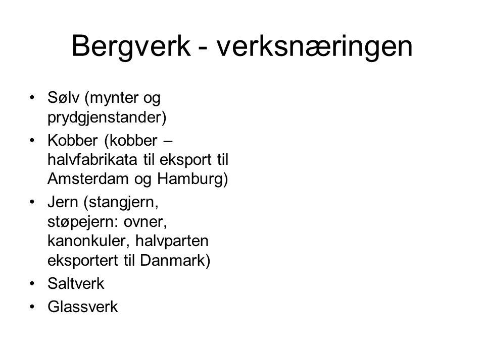 Bergverk - verksnæringen Sølv (mynter og prydgjenstander) Kobber (kobber – halvfabrikata til eksport til Amsterdam og Hamburg) Jern (stangjern, støpej