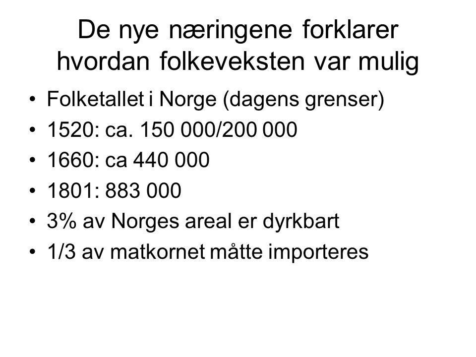 De nye næringene forklarer hvordan folkeveksten var mulig Folketallet i Norge (dagens grenser) 1520: ca. 150 000/200 000 1660: ca 440 000 1801: 883 00