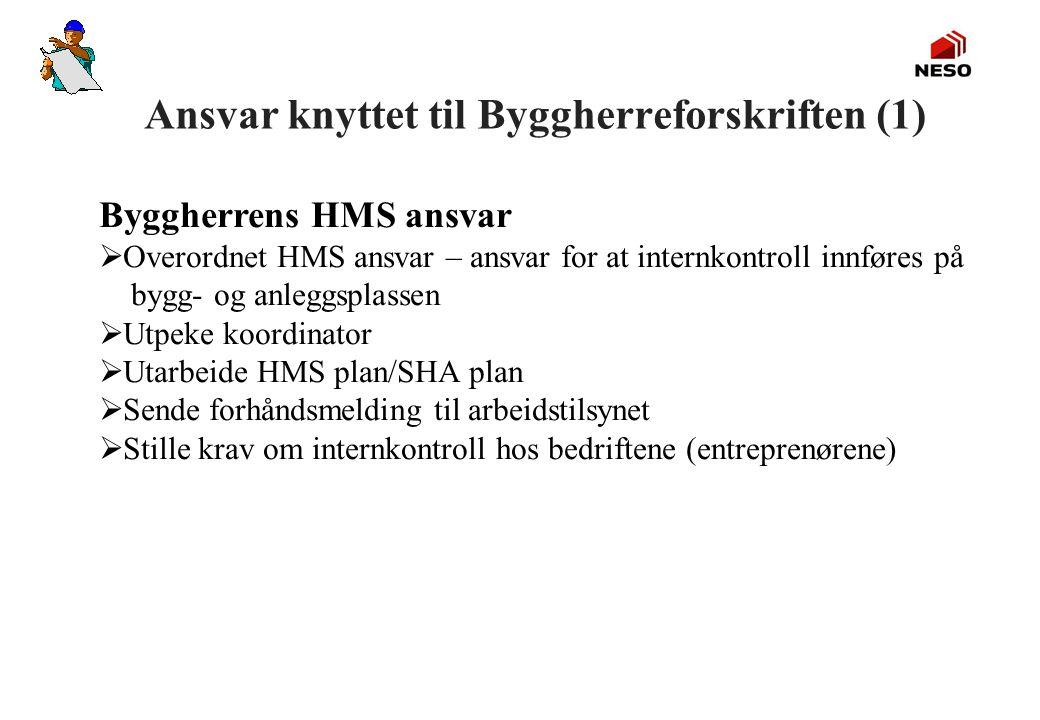 Ansvar knyttet til Byggherreforskriften (1) Byggherrens HMS ansvar  Overordnet HMS ansvar – ansvar for at internkontroll innføres på bygg- og anleggs