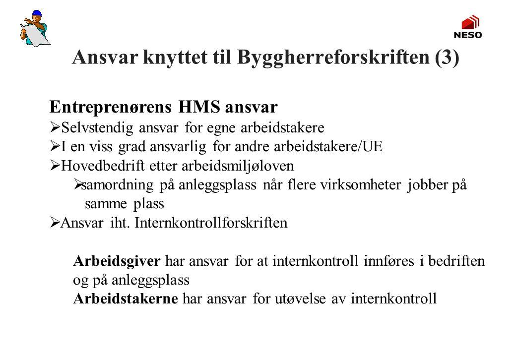 Ansvar knyttet til Byggherreforskriften (3) Entreprenørens HMS ansvar  Selvstendig ansvar for egne arbeidstakere  I en viss grad ansvarlig for andre