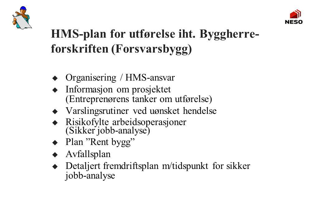 HMS-plan for utførelse iht. Byggherre- forskriften (Forsvarsbygg) u Organisering / HMS-ansvar u Informasjon om prosjektet (Entreprenørens tanker om ut