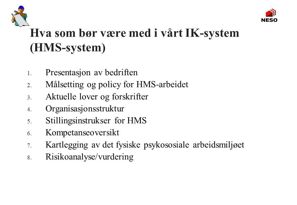 Hva som bør være med i vårt IK-system (HMS-system) 1. Presentasjon av bedriften 2. Målsetting og policy for HMS-arbeidet 3. Aktuelle lover og forskrif