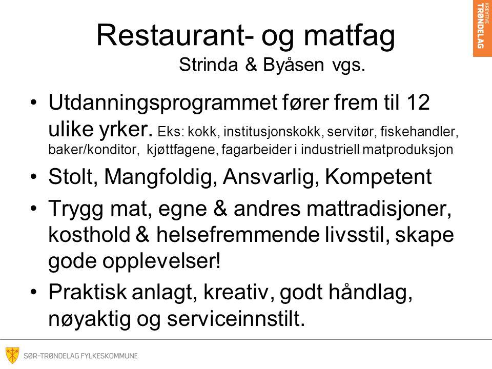Restaurant- og matfag Strinda & Byåsen vgs. Utdanningsprogrammet fører frem til 12 ulike yrker.