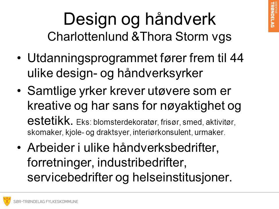 Design og håndverk Charlottenlund &Thora Storm vgs Utdanningsprogrammet fører frem til 44 ulike design- og håndverksyrker Samtlige yrker krever utøvere som er kreative og har sans for nøyaktighet og estetikk.