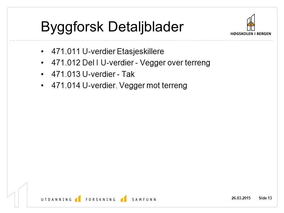 26.03.2015 Side 13 Byggforsk Detaljblader 471.011 U-verdier Etasjeskillere 471.012 Del I U-verdier - Vegger over terreng 471.013 U-verdier - Tak 471.0