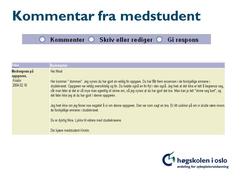 Kommentar fra medstudent