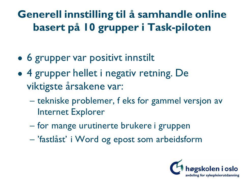 Generell innstilling til å samhandle online basert på 10 grupper i Task-piloten l 6 grupper var positivt innstilt l 4 grupper hellet i negativ retning.