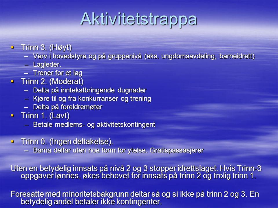 Aktivitetstrappa  Trinn 3. (Høyt) –Verv i hovedstyre og på gruppenivå (eks.