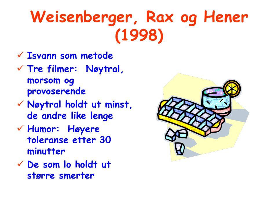 Weisenberger, Rax og Hener (1998) Isvann som metode Tre filmer: Nøytral, morsom og provoserende Nøytral holdt ut minst, de andre like lenge Humor: Høyere toleranse etter 30 minutter De som lo holdt ut større smerter