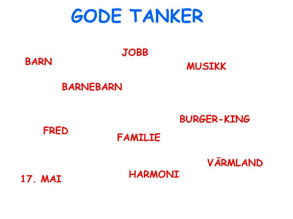 GODE TANKER BARN BARNEBARN FRED MUSIKK BURGER-KING HARMONI FAMILIE JOBB VÄRMLAND 17. MAI