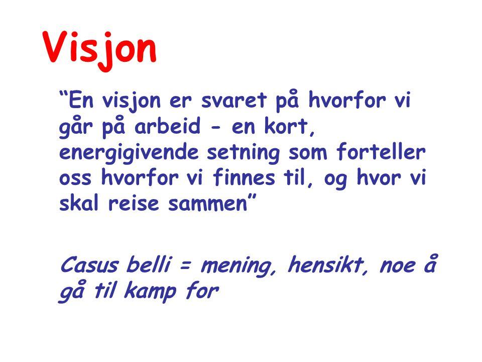 Visjon En visjon er svaret på hvorfor vi går på arbeid - en kort, energigivende setning som forteller oss hvorfor vi finnes til, og hvor vi skal reise sammen Casus belli = mening, hensikt, noe å gå til kamp for