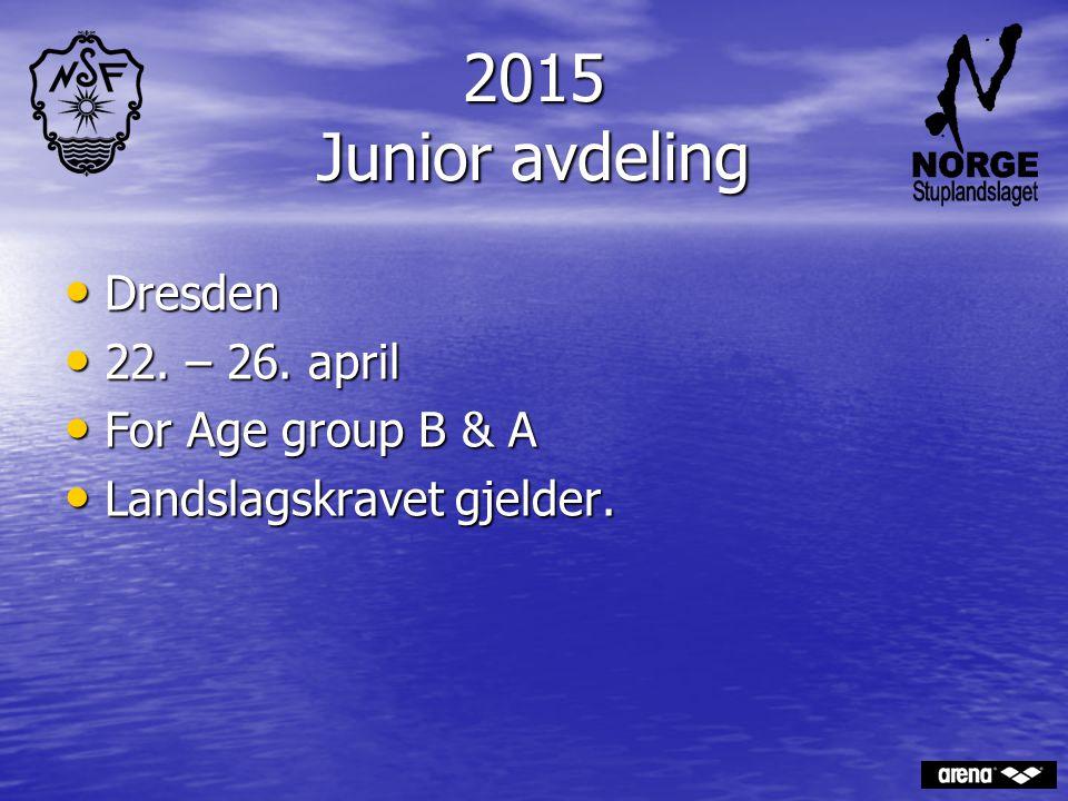 2015 Junior avdeling Dresden Dresden 22. – 26. april 22. – 26. april For Age group B & A For Age group B & A Landslagskravet gjelder. Landslagskravet