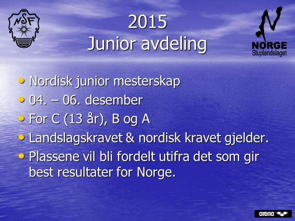 2015 Junior avdeling Nordisk junior mesterskap Nordisk junior mesterskap 04. – 06. desember 04. – 06. desember For C (13 år), B og A For C (13 år), B