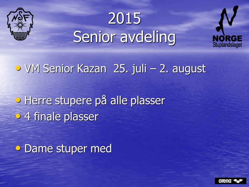 2015 Senior avdeling VM Senior Kazan 25. juli – 2. august VM Senior Kazan 25. juli – 2. august Herre stupere på alle plasser Herre stupere på alle pla
