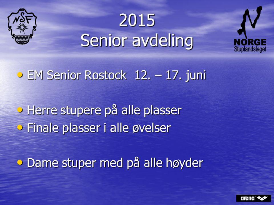 2015 Senior avdeling EM Senior Rostock 12. – 17. juni EM Senior Rostock 12. – 17. juni Herre stupere på alle plasser Herre stupere på alle plasser Fin