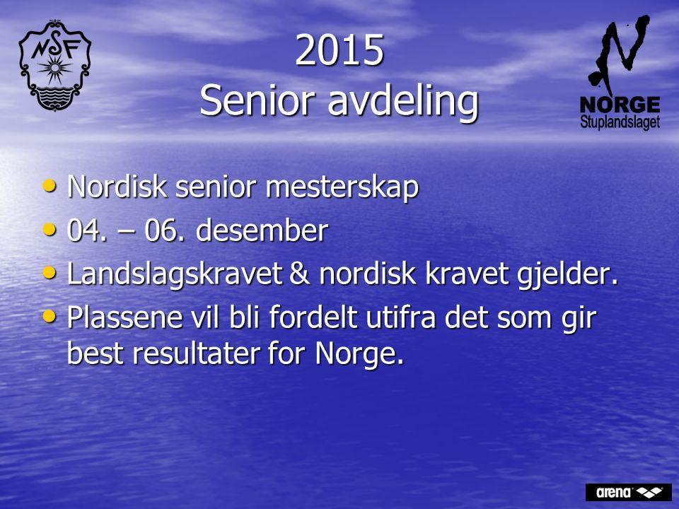 2015 Senior avdeling Nordisk senior mesterskap Nordisk senior mesterskap 04. – 06. desember 04. – 06. desember Landslagskravet & nordisk kravet gjelde