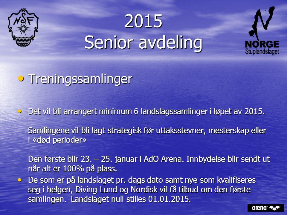 2015 Senior avdeling Treningssamlinger Treningssamlinger Det vil bli arrangert minimum 6 landslagssamlinger i løpet av 2015. Samlingene vil bli lagt s