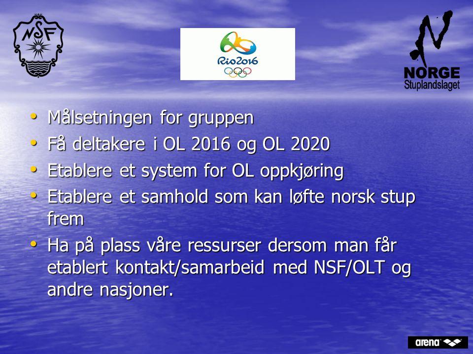 Målsetningen for gruppen Målsetningen for gruppen Få deltakere i OL 2016 og OL 2020 Få deltakere i OL 2016 og OL 2020 Etablere et system for OL oppkjø