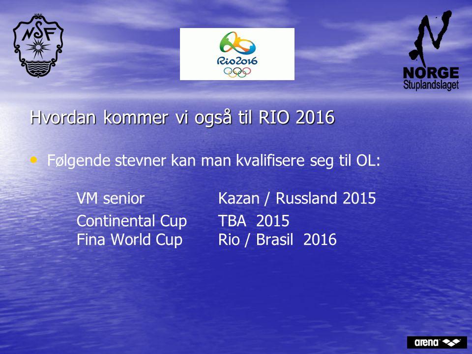 Hvordan kommer vi også til RIO 2016 Følgende stevner kan man kvalifisere seg til OL: VM seniorKazan / Russland 2015 Continental CupTBA 2015 Fina World