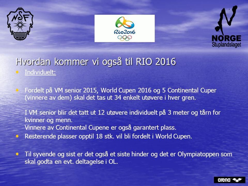 Hvordan kommer vi også til RIO 2016 Individuelt: Fordelt på VM senior 2015, World Cupen 2016 og 5 Continental Cuper (vinnere av dem) skal det tas ut 3