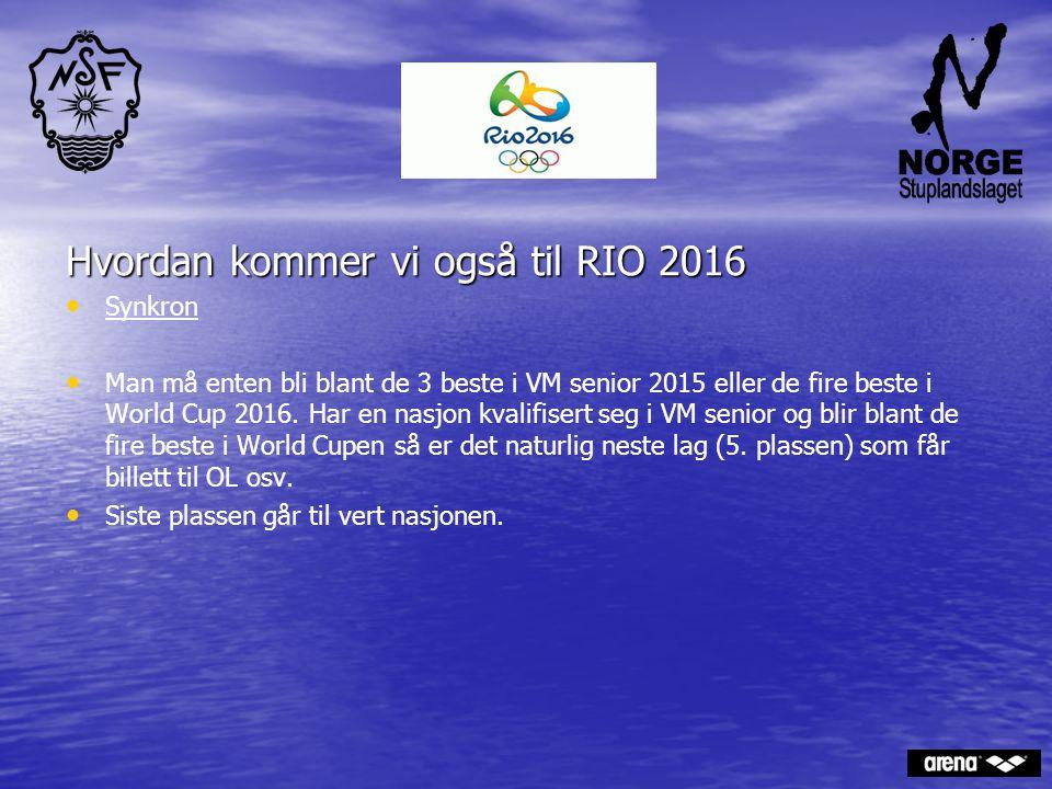 Hvordan kommer vi også til RIO 2016 Synkron Man må enten bli blant de 3 beste i VM senior 2015 eller de fire beste i World Cup 2016. Har en nasjon kva