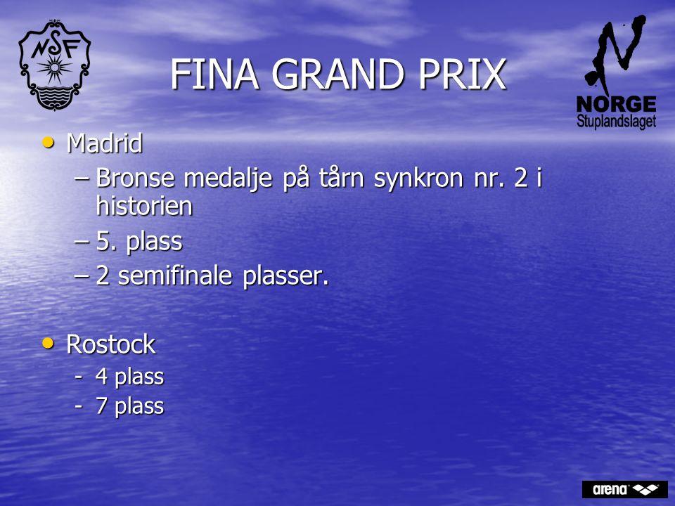 FINA GRAND PRIX Madrid Madrid –Bronse medalje på tårn synkron nr. 2 i historien –5. plass –2 semifinale plasser. Rostock Rostock -4 plass -7 plass