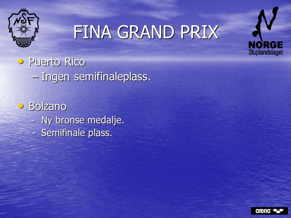 FINA GRAND PRIX Puerto Rico Puerto Rico –Ingen semifinaleplass. Bolzano Bolzano -Ny bronse medalje. -Semifinale plass.